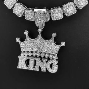 14K White Gold Plated KING Crown Pendant BRAND NEW